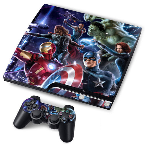 PS3 Slim PlayStation 3 Slim Skin/Stickers PVC for Console + 2 Controllers/Pads Decal Protector Cover ***Heroes***