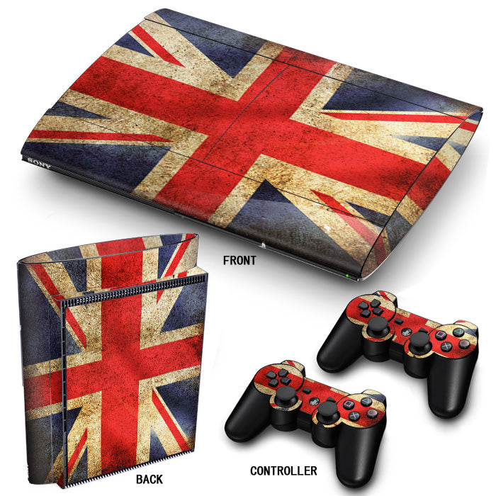 PS3 Super Slim PlayStation 3 SuperSlim Skin/Stickers PVC for Console & 2 Controllers/Pads Decal Protector Cover ***Union Jack***