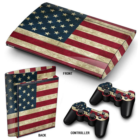 PS3 Super Slim PlayStation 3 SuperSlim Skin/Stickers PVC for Console & 2 Controllers/Pads Decal Protector Cover ***USA***