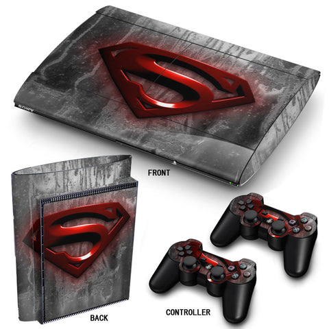 PS3 Super Slim PlayStation 3 SuperSlim Skin/Stickers PVC for Console & 2 Controllers/Pads Decal Protector Cover ***Red Superman***