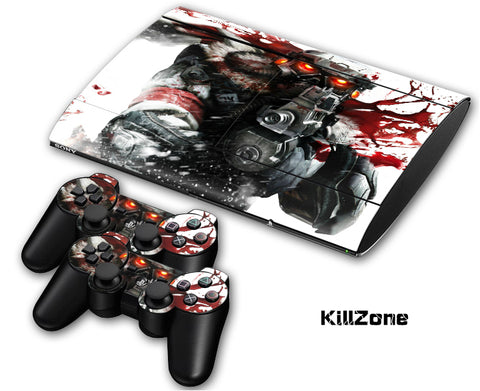 PS3 Super Slim PlayStation 3 SuperSlim Skin/Stickers PVC for Console & 2 Controllers/Pads Decal Protector Cover ***Essential killing***