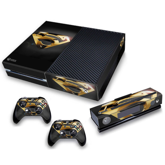 Xbox One Skin/Stickers PVC for Xbox One Console, Kinect & 2 Controllers***Gold Superman***