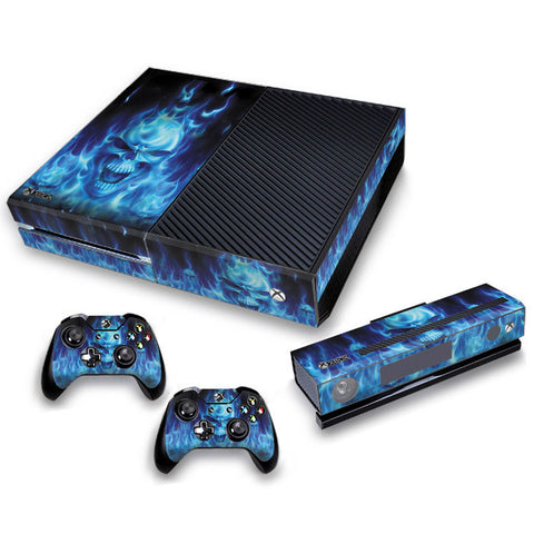Xbox One Skin/Stickers PVC for Xbox One Console, Kinect & 2 Controllers***Blue Flame***