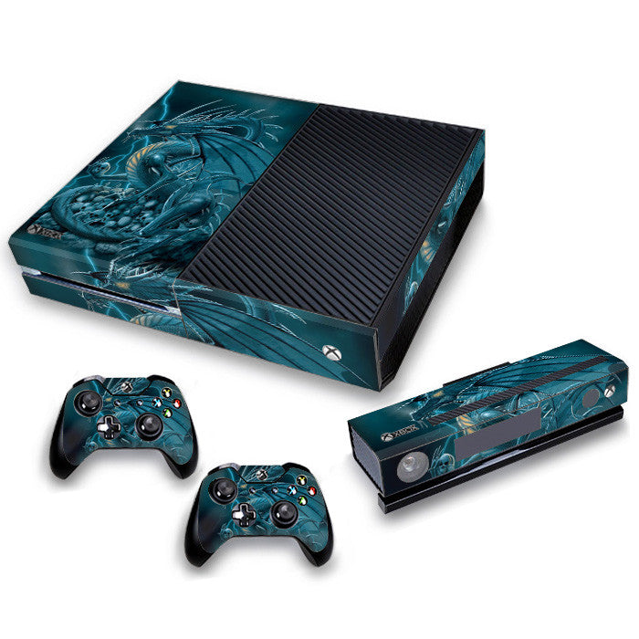 Xbox One Skin/Stickers PVC for Xbox One Console, Kinect & 2 Controllers***Blue Dragon***