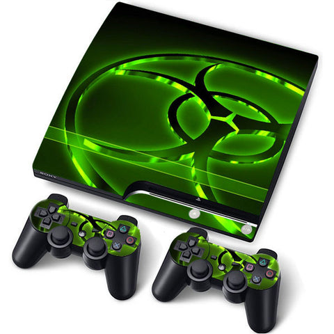 PS3 Slim PlayStation 3 Slim Skin/Stickers PVC for Console + 2 Controllers/Pads Decal Protector Cover ***Biohazard***