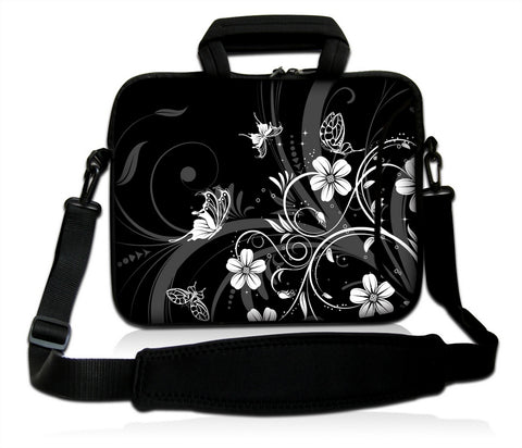 "15""- 15.6"" (inch) LAPTOP BAG CARRY CASE/BAG WITH HANDLE & STRAP NEOPRENE FOR LAPTOPS/NOTEBOOKS, *BLACK4B*"