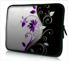"15""-15.6""inch Tablet Laptop Case Bag Pouch Protective Cover by Funky Planet Bags/Cases *BLACK WHITE PURPLE FLOWER*"