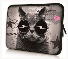 "15""-15.6""inch Tablet Laptop Case Bag Pouch Protective Cover by Funky Planet Bags/Cases *CAT GLASSESS*"