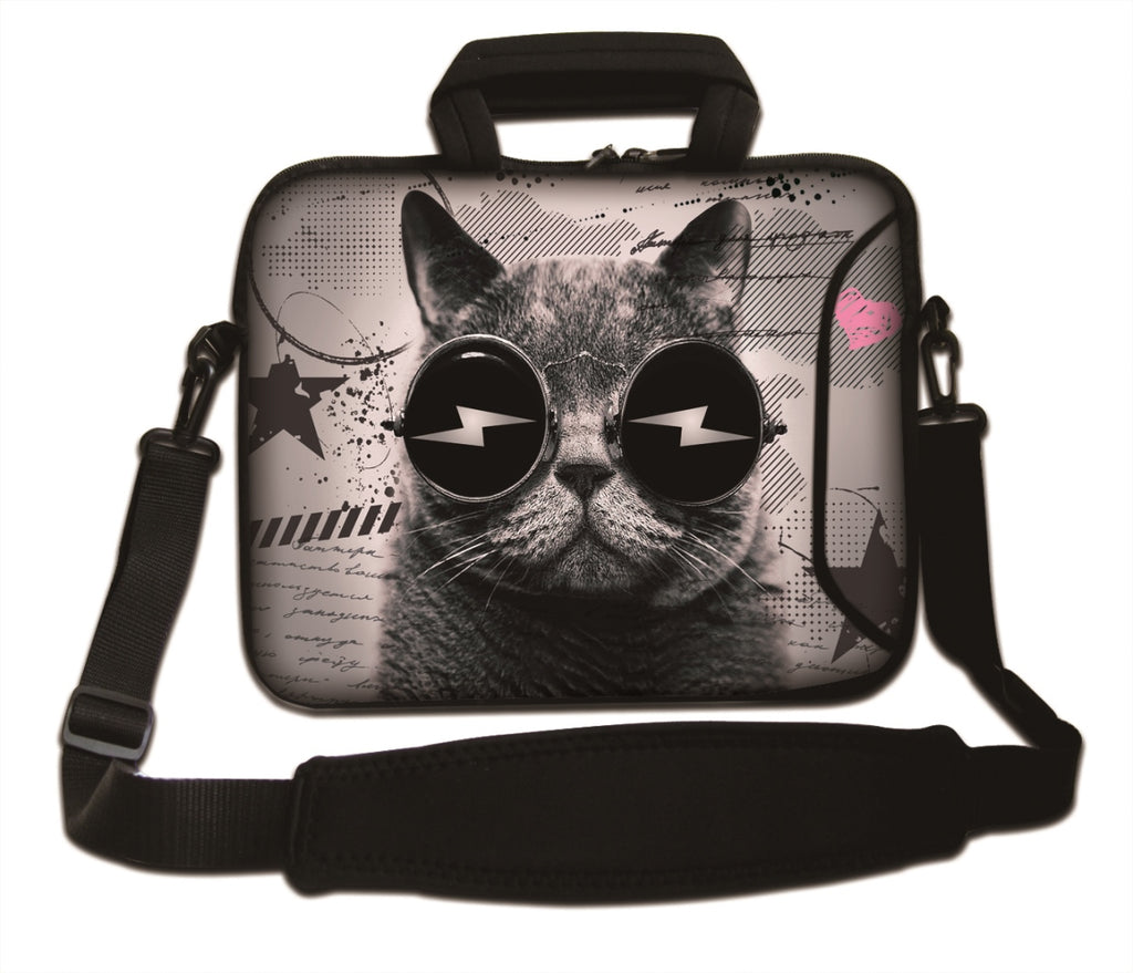 "15""- 15.6"" (inch) LAPTOP BAG CARRY CASE/BAG WITH HANDLE & STRAP NEOPRENE FOR LAPTOPS/NOTEBOOKS, *CAT GLASSESS*"