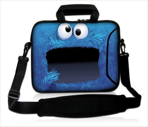 "15""- 15.6"" (inch) LAPTOP BAG CARRY CASE/BAG WITH HANDLE & STRAP NEOPRENE FOR LAPTOPS/NOTEBOOKS, *COOKIE MONSTER*"
