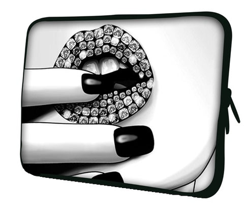 "10 ""inch Tablet Laptop Sleeve Protective Case by Funky Planet Bags/Cases *Diamond Lips*"