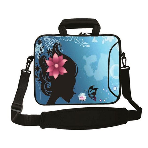 "15""- 15.6"" (inch) LAPTOP BAG CARRY CASE/BAG WITH HANDLE & STRAP NEOPRENE FOR LAPTOPS/NOTEBOOKS, *FLOWER HEAD*"