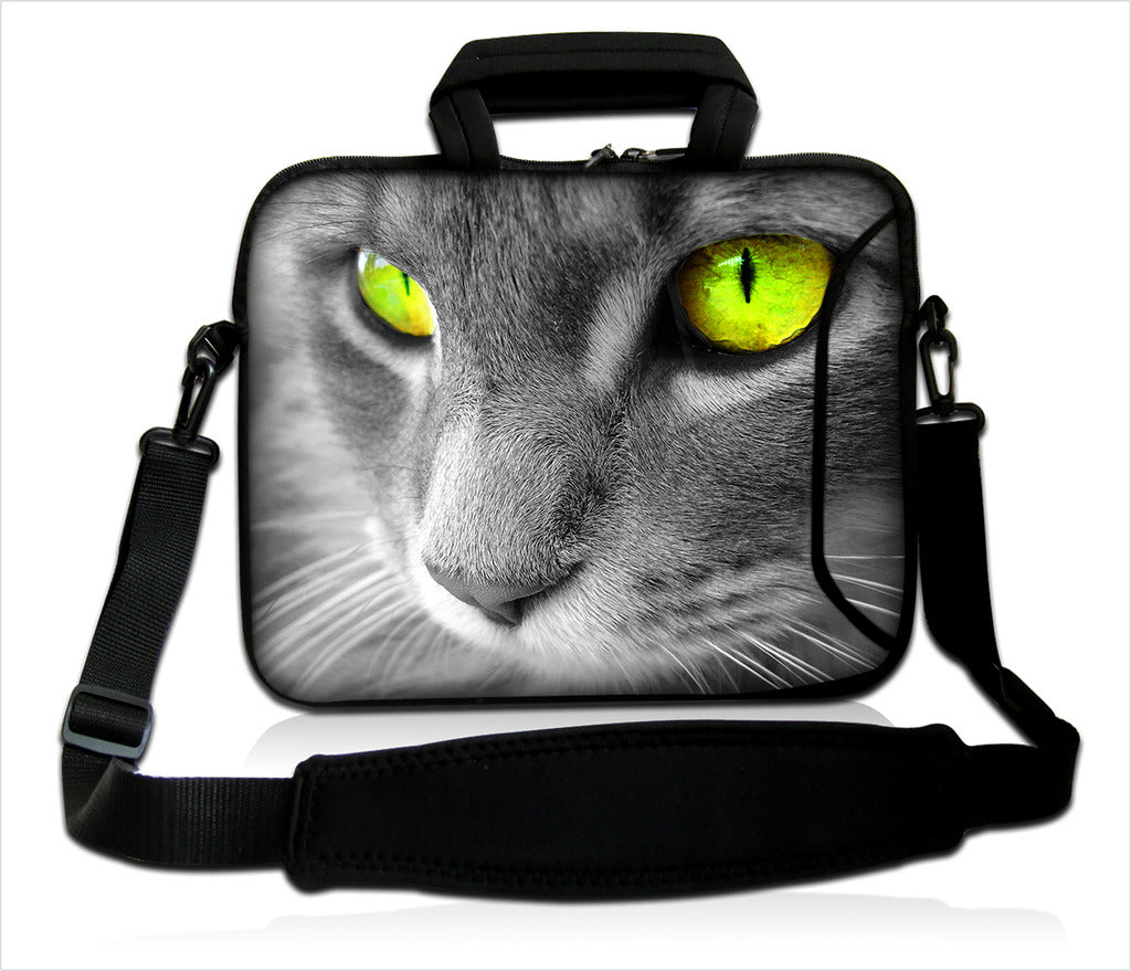 "15""- 15.6"" (inch) LAPTOP BAG CARRY CASE/BAG WITH HANDLE & STRAP NEOPRENE FOR LAPTOPS/NOTEBOOKS, *GREY CAT*"