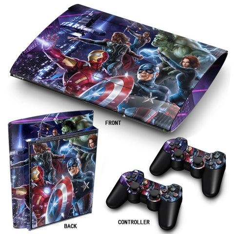PS3 Super Slim PlayStation 3 SuperSlim Skin/Stickers PVC for Console & 2 Controllers/Pads Decal Protector Cover ***Heroes***