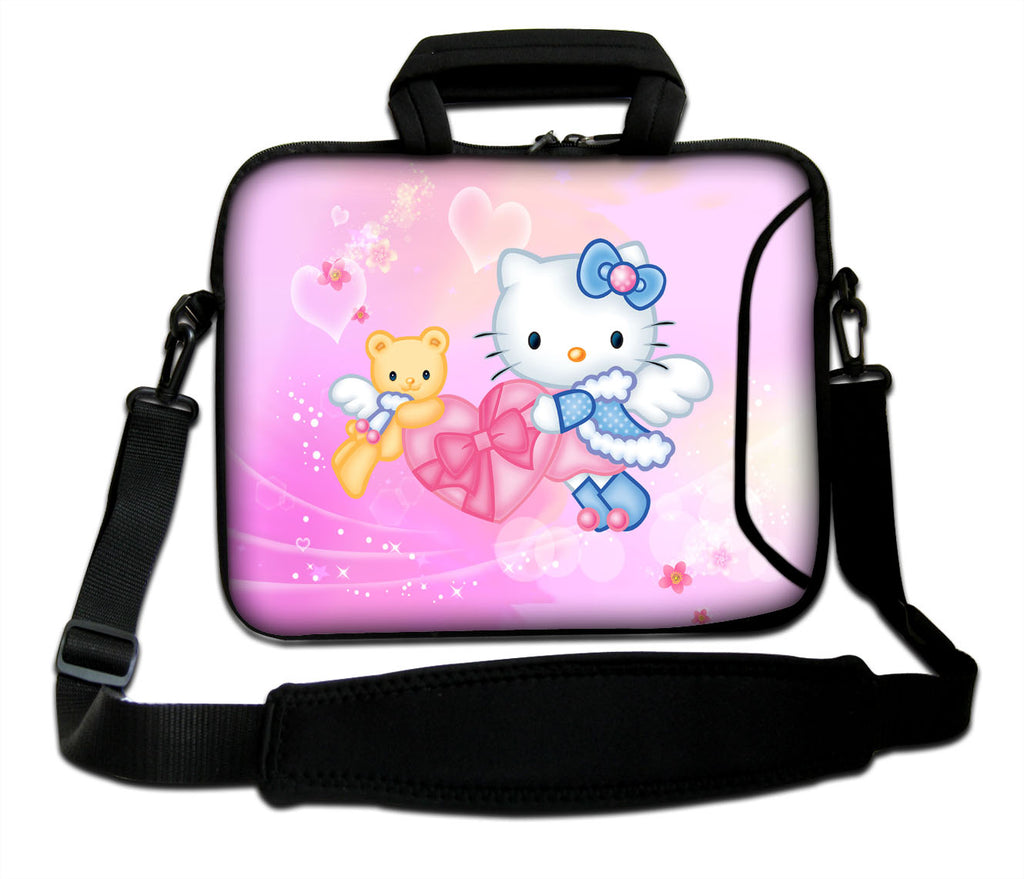 "15""- 15.6"" (inch) LAPTOP BAG CARRY CASE/BAG WITH HANDLE & STRAP NEOPRENE FOR LAPTOPS/NOTEBOOKS, *HELLO KITTY*"