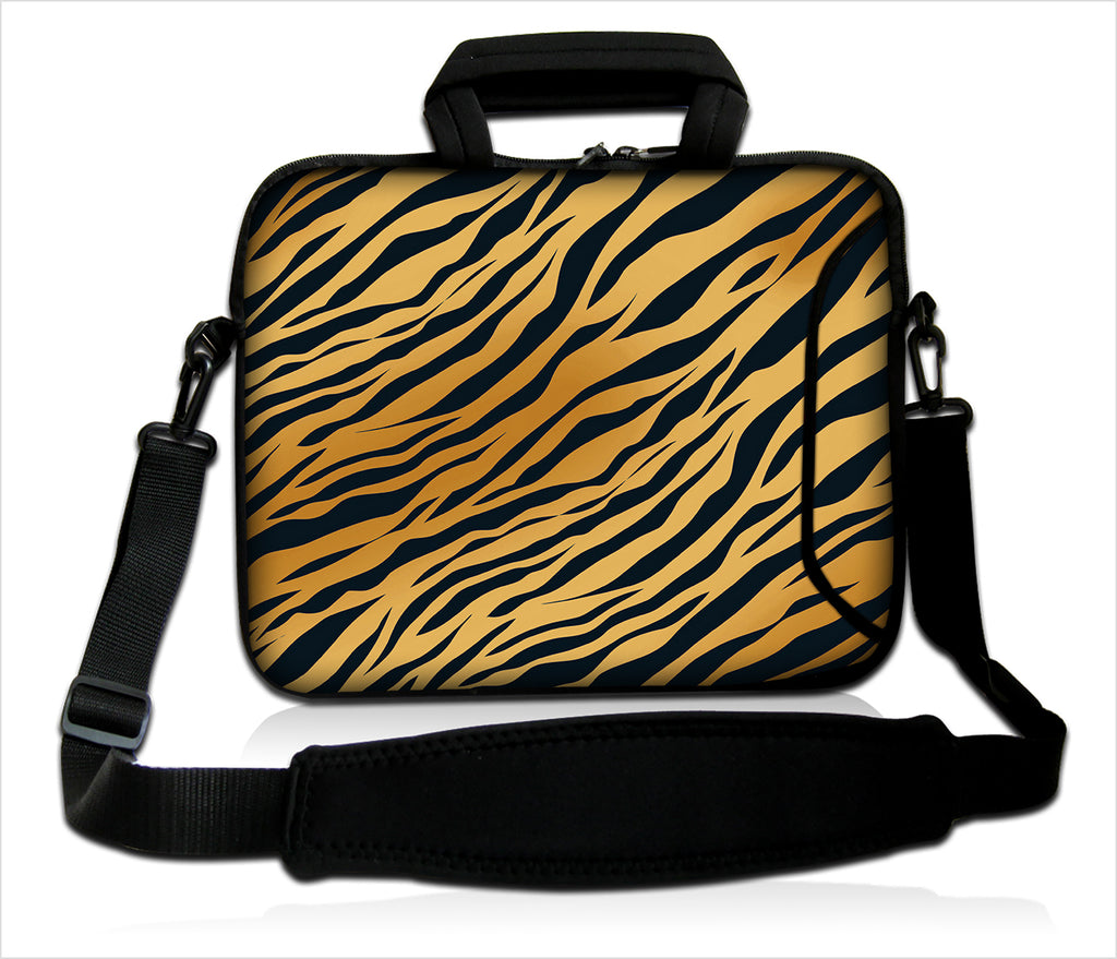 "15""- 15.6"" (inch) LAPTOP BAG CARRY CASE/BAG WITH HANDLE & STRAP NEOPRENE FOR LAPTOPS/NOTEBOOKS, *PANTHER STRIPES*"
