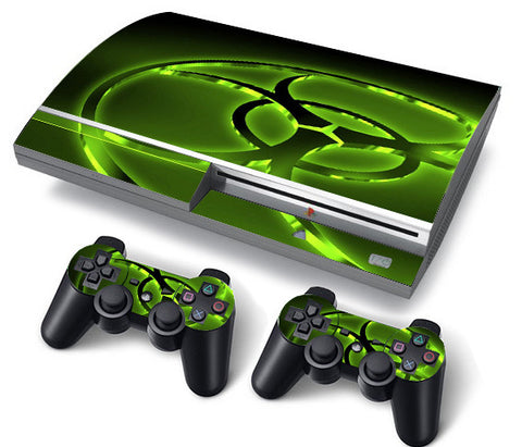 PS3 FAT PlayStation 3 ORIGINAL Skin/Stickers PVC for Console + 2 Controllers/Pads Decal Protector Cover ***Biohazard***