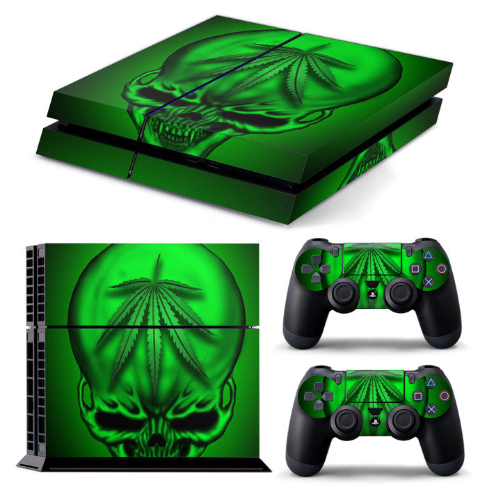 PS4 FULL BODY Accessory Wrap Sticker Skin Cover Decal for PS4 Playstation 4, ***Green Skull***