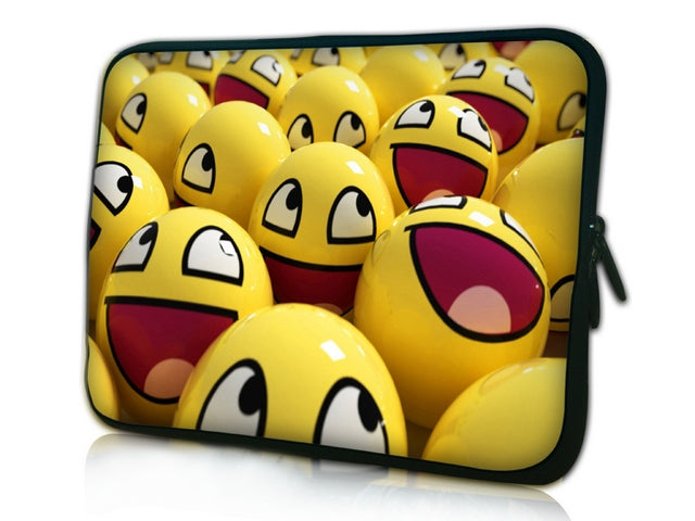 "17""- 17.3"" (inch) LAPTOP SLEEVE CARRY CASE/BAG NEOPRENE FOR LAPTOPS/NOTEBOOKS, ZIPPED *Smiley Faces*"