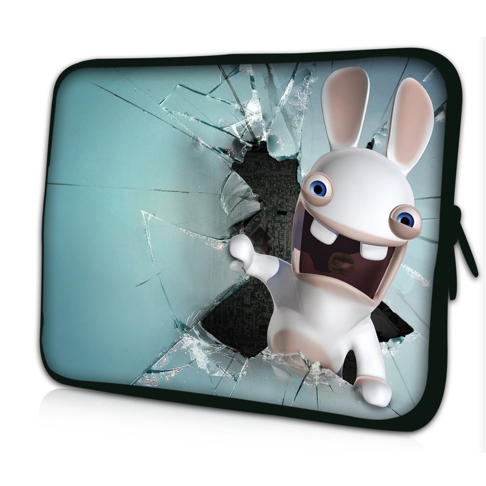 "15""- 15.6"" (inch) LAPTOP SLEEVE CARRY CASE/BAG NEOPRENE FOR LAPTOPS/NOTEBOOKS, ZIPPED*WHITE RABBIT*"