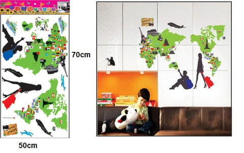 WALL STICKERS, BEDROOM WALL STICKERS, BEDROOM DECOR FOR BOYS & GIRLS ***WORLD TOUR***
