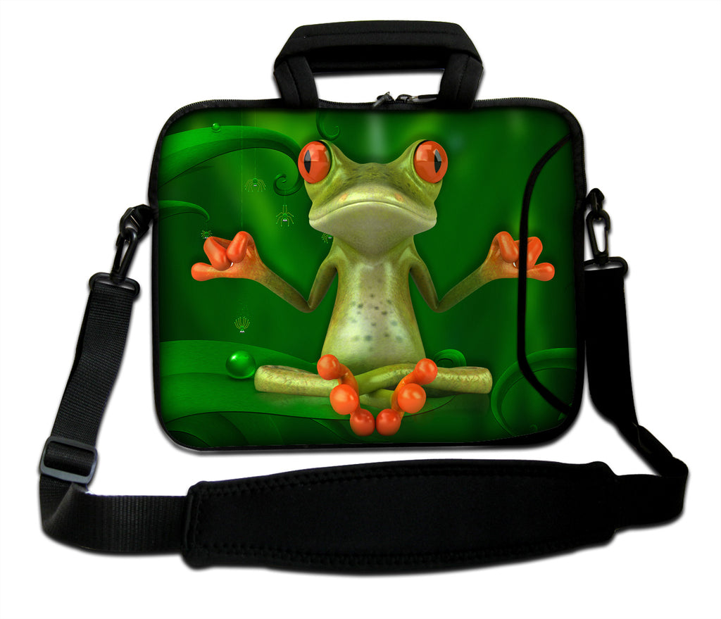 "15""- 15.6"" (inch) LAPTOP BAG CARRY CASE/BAG WITH HANDLE & STRAP NEOPRENE FOR LAPTOPS/NOTEBOOKS, *YOGA FROG*"