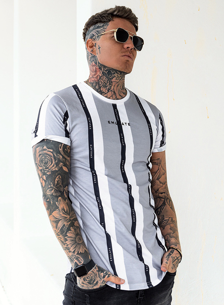 MALLEN STRIPE TEE - GREY/BLACK/WHITE