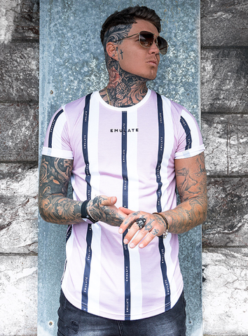CARTER STRIPE TEE - PINK/WHITE