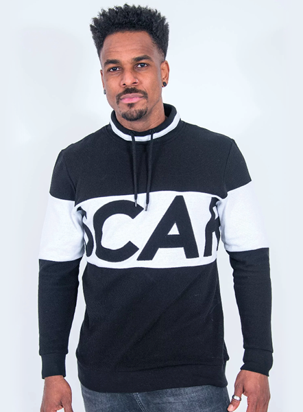 RETRO FUNNEL NECK SWEAT - BLACK