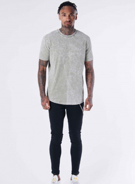 KHAKI ACID WASH T-SHIRT