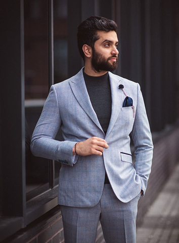 CARIDI SLIM FIT CHECK BLAZER - SKY