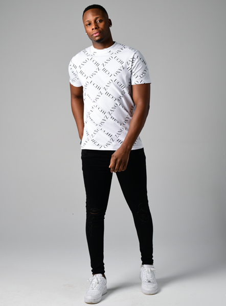 DIAMOND PRINT TEE - WHITE/BLACK