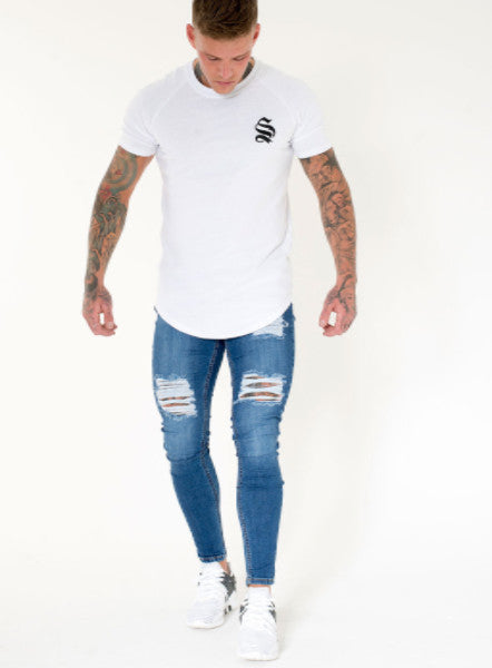 Dark Wash Rip Repair Skinny Jeans