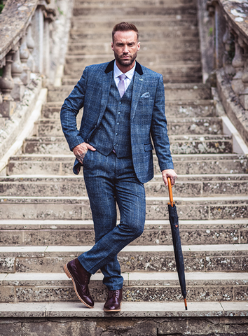 MILES TWEED THREE PIECE SUIT - NAVY