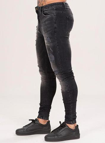 MARQUEE RIPPED JEANS - BLACK WASH