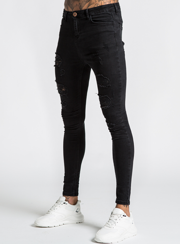 Luca Skinny Stretch Jeans - Distressed Jet Black