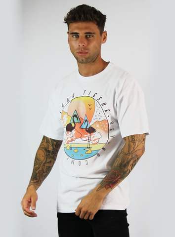 FLAMINGO TEE - WHITE/ORANGE