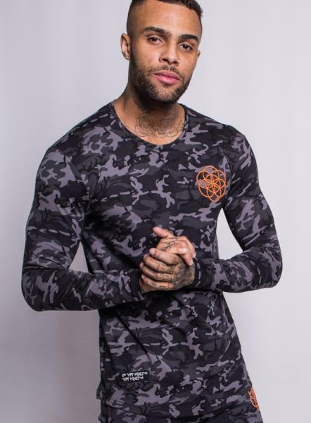 LONG SLEEVE TEE - BLACK/CAMO