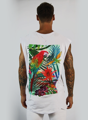 TROPICAL SLEEVELESS TEE - WHITE