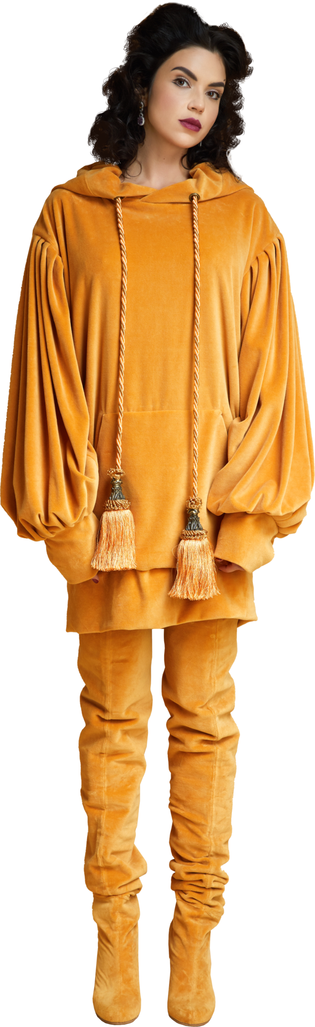 1860s Velvet Oversized Hoodie with Tassels in Gold
