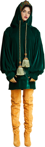 1860s Velvet Oversized Hoodie with Tassels in Dark Emerald