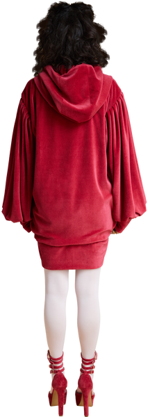 1860s Velvet Oversized Hoodie with Tassels in Scarlet