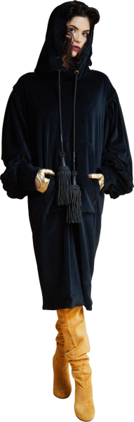 1860s Velvet Dress Hoodie with Tassels in Dark ash