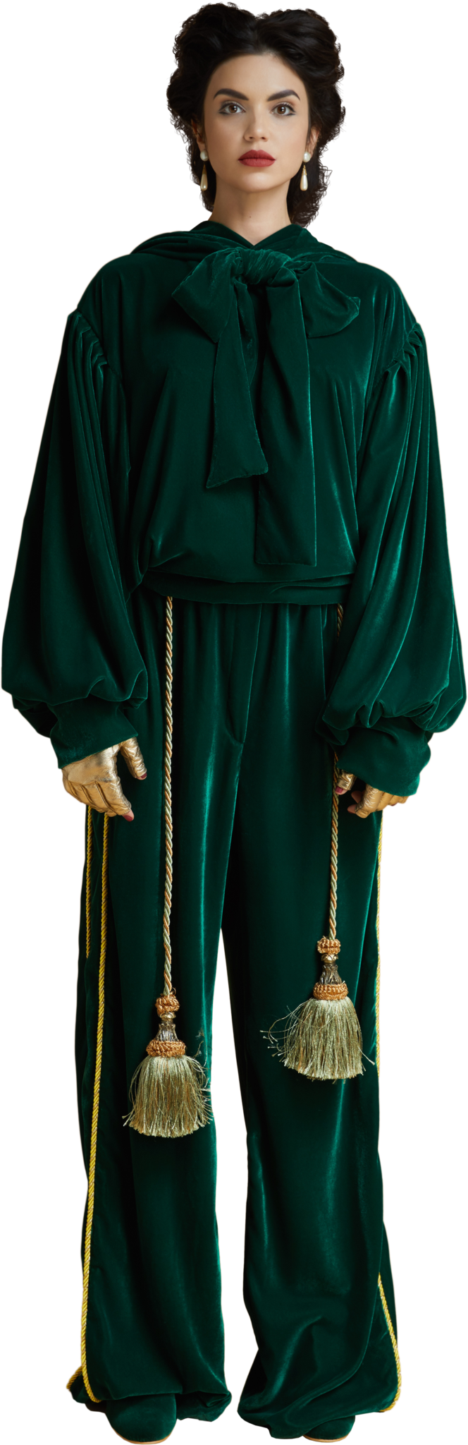 1860s Velvet Hoodie with Bow in Dark Emerald