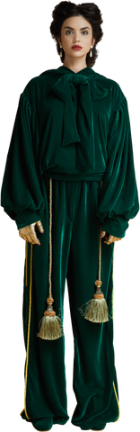 """General"" Velvet Sport Pants with Tassels  in Dark Emerald"