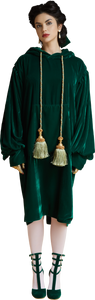 1860s Velvet Dress Hoodie with Tassels in Dark Emerald