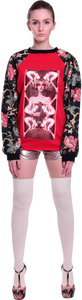 Flower Coated Sweatshirt in Lipstick Queen of Trouble