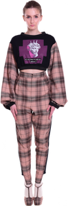 Flared Tartan Crop Top Wake Up Statues