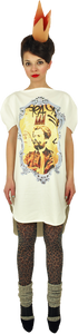 "Long Princely T-Shirt ""Le Roi Rasta"" in Milk"