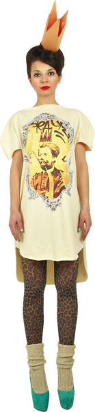 "Long Princely T-Shirt ""Le Roi Rasta"" in Vanilla"